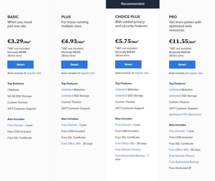 BlueHost kainos